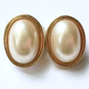 Vintage Oval Pearl Earrings